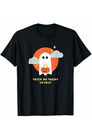 Kids and Adult Trick Or Treating Lazy Costumes Trick Or Treat Yo'Self Shirt  Funny Halloween Ghost Graphic T-Shirt