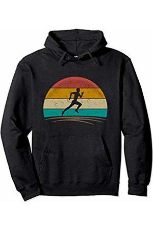 Wowsome! Vintage Runner Retro Vintage 70s Distressed Running Men Pullover Hoodie