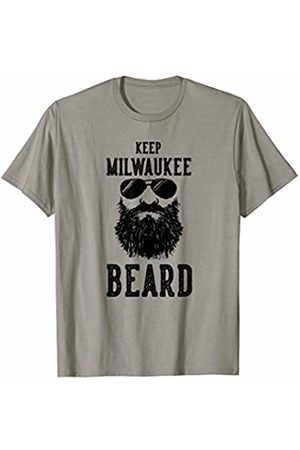 Robot Basecamp Funny Joke T-Shirts Keep Milwaukee Wisconsin BEARD Funny Hipster Retro T-Shirt