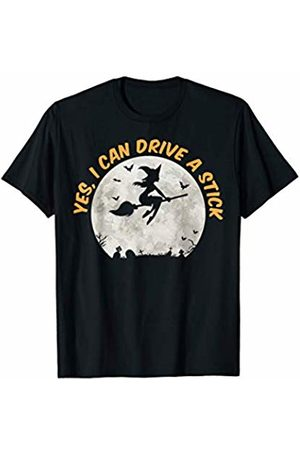Miftees Yes I can drive a stick funny Halloween Witch T-Shirt