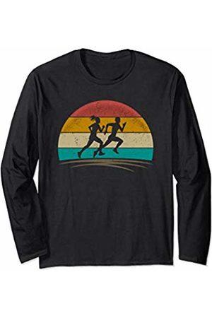 Wowsome! Vintage Runner Retro Vintage Distressed Running Mens Womens Long Sleeve T-Shirt