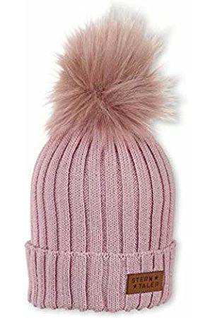 Sterntaler Girl's Bonnet Pour Filles Tricot Avec Pompon Fourrure Et Écusson En Cuir, Taille : 51/53 cm, Rose Beanie