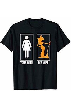 Miftees My Wife Your Wife funny Halloween witch with wine T-Shirt