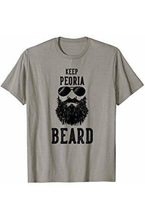 Robot Basecamp Funny Joke T-Shirts Keep Peoria Illinois BEARD Funny Hipster Retro T-Shirt