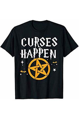 Miftees Curses Happen funny Halloween Pun witch Pentagram T-Shirt