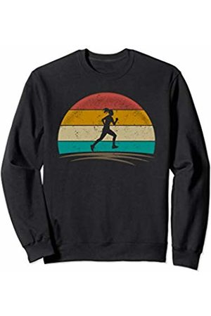 Wowsome! Vintage Runner Retro Vintage 70s Distressed Running Womens Sweatshirt