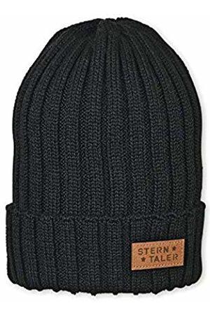 Sterntaler Boy's Bonnet Pour Garçon Tricot Avec Écusson En Cuir, Taille : 51/53 cm, Noir Beanie