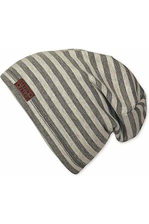 Sterntaler Boy's Bonnet Pour Garçons Avec Motif À Rayures Et Cuir, Âge: 4-6 Ans, Taille: 55 cm, (gris Fer) Beanie