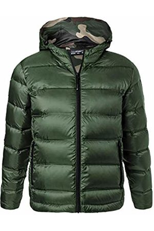 James & Nicholson Men's Hooded Down Jacket Olive/Camouflage