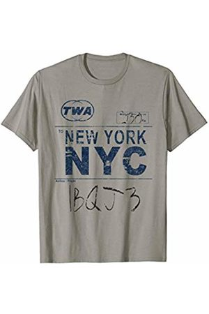 Designed For Flight NYC New York Vintage Airline Tag Airliner Flying Travel T-Shirt
