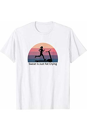 Adages WORKOUT TREADMILL retro sunset SWEAT IS JUST FAT CRYING T-Shirt