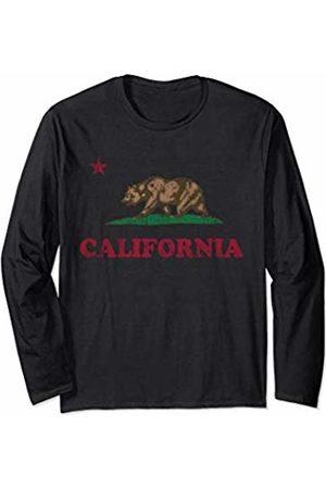 Tee Styley California Republic Flag Retro Fade Gift Men Women Long Sleeve T-Shirt