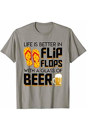 Saying funny t shirt Gift Life Better Flip Flops Glass Beer Beach Summer Beer Gift