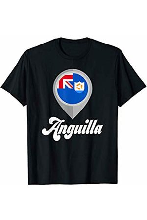 Vishtea ANGUILLA Flag PIN Tshirt I Love ANGUILLA Travel Tee T-Shirt