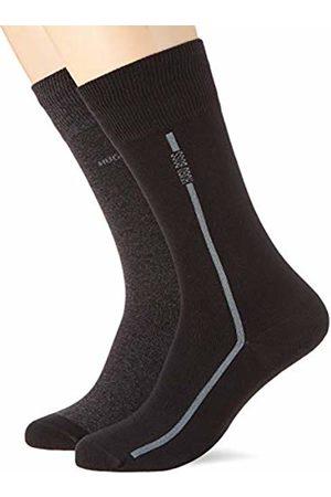 HUGO BOSS Men's 2p Rs Logo Stripe Cc Calf Socks