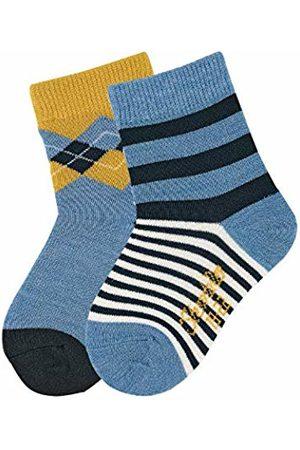 Sterntaler Baby Boys Söckchen 2er-Pack Karo Chaussettes, Bleu (Mittelblau Mel. 375), 18 Calf Socks
