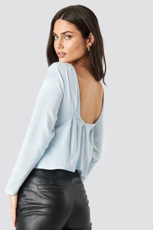 NA-KD Women Long sleeves - Oxford Long Sleeve Shirt With Open Back - Blue