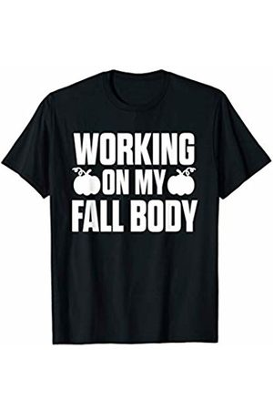 Fall Merch Co Men T-shirts - Working On My Fall Body Autumn Pumpkin Workout Gift T-Shirt