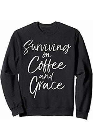 P37 Design Studio Jesus Shirts Cute Christian Mom Gift Womens Surviving on Coffee and Grace Sweatshirt