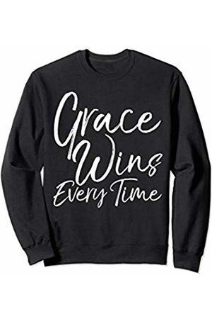 P37 Design Studio Jesus Shirts Cute Christian Quote Gift for Women Grace Wins Every Time Sweatshirt