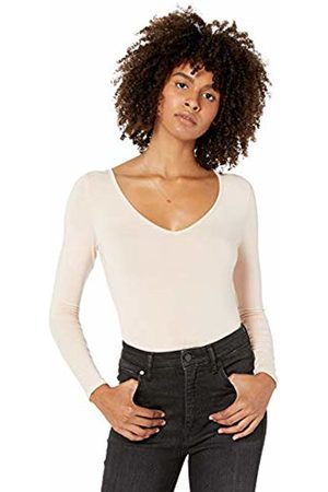 The Drop Women's Patricia Long Sleeve Deep V-Neck Fitted Bodysuit