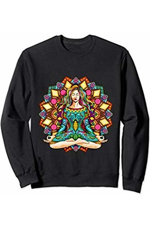 Yoga Fanatic By Pemissa Hippie Yoga Girl Meditator Colorful Mandala Namaste Yogi Zen Sweatshirt