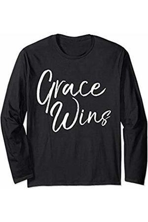 P37 Design Studio Jesus Shirts Christian Gifts for Women Cute Faith Saying Grace Wins Long Sleeve T-Shirt
