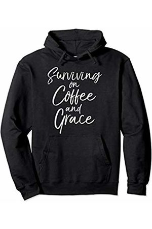P37 Design Studio Jesus Shirts Cute Christian Mom Gift Womens Surviving on Coffee and Grace Pullover Hoodie