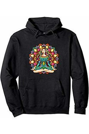 Yoga Fanatic By Pemissa Hippie Yoga Girl Meditator Colorful Mandala Namaste Yogi Zen Pullover Hoodie