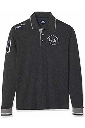 La Martina Men Polo Shirts - Men's Man Polo L/s Jersey Interlock Shirt, (Dark Heather 01007)