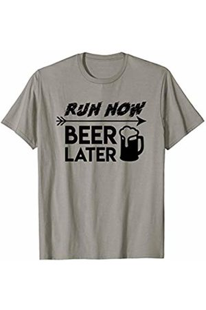 Saying funny t shirt Gift Men T-shirts - Run Now Beer Later Cool Design Running Beer Shirt Gift