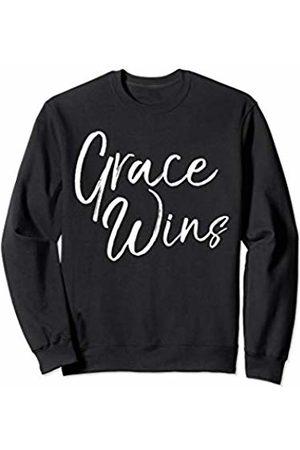 P37 Design Studio Jesus Shirts Christian Gifts for Women Cute Faith Saying Grace Wins Sweatshirt