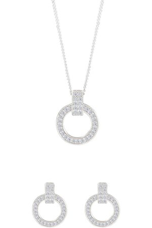 The Love Silver Collection Women Necklaces - Sterling Silver Cubic Zirconia Round Earrings And Pendant Set