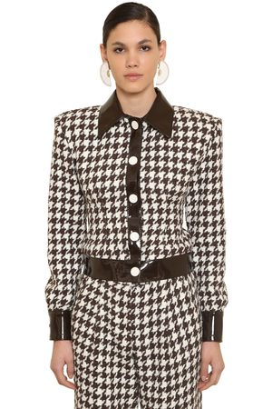 ROWEN ROSE Wool Houndstooth Tweed Jacket