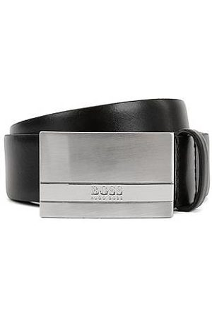 HUGO BOSS Leather belt with brushed-silver plaque