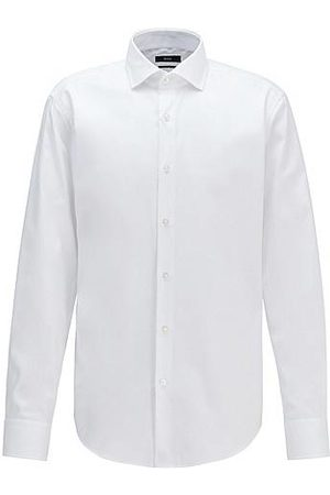 HUGO BOSS Regular-fit shirt in cotton twill with spread collar
