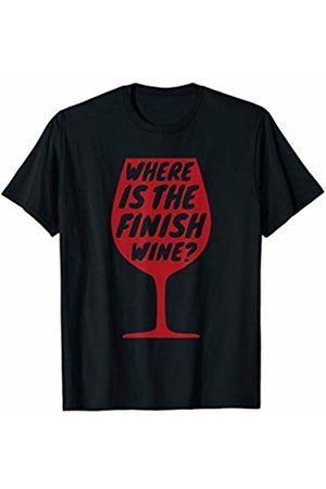 Shirtbooth: Running Fitness Gym 'Where Is The Finish Wine?' Workout Gift Running T-Shirt