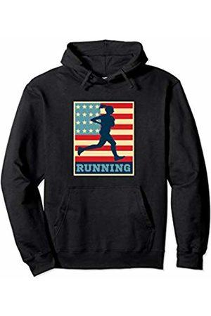 Running Outdoor Sports Gifts Ladies USA Flag Girls Marathon Running Gym Runner Sports Pullover Hoodie