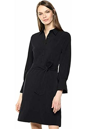 Lark & Ro Stretch Twill Fit and Flare Tie Waist Shirt Dress