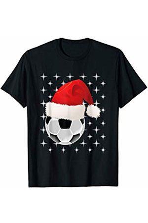 Soccer Santa designsanddesigns Christmas Stars Soccer Ball Santa Hat Funny Sports Xmas T-Shirt