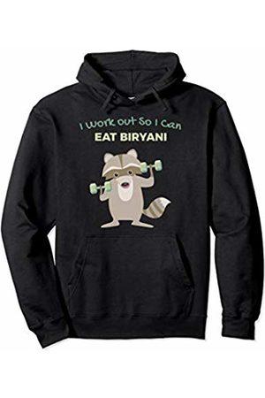 Favorite Indian Food Funny Biryani Lover Raccoon Gym for Men Pullover Hoodie
