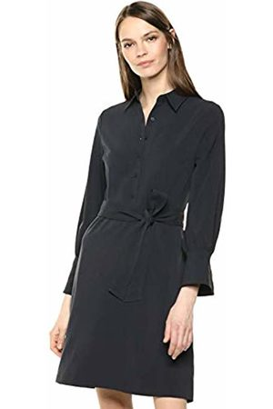 Lark & Ro Stretch Twill Fit and Flare Tie Waist Shirt Dress Dark Navy