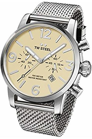TW steel Maverick Men's Quartz Watch with Beige Dial Chronograph Display and Grey Stainless Steel Bracelet MB4