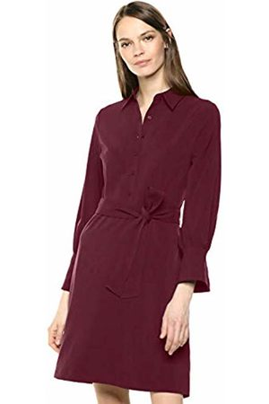 Lark & Ro Stretch Twill Fit and Flare Tie Waist Shirt Dress Zinfandel