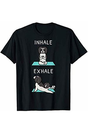 Funny Lhasa Apso Clothing Men T-shirts - Lhasa Apso Yoga Inhale Exhale Funny Dog Gift T-Shirt