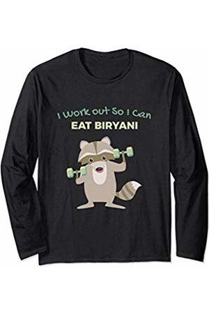 Favorite Indian Food Funny Biryani Lover Raccoon Gym for Men Long Sleeve T-Shirt