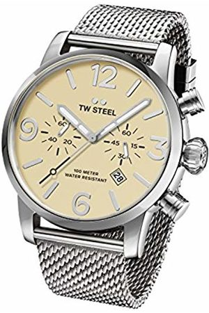 TW steel Maverick Unisex Quartz Watch with Beige Dial Chronograph Display and Grey Stainless Steel Bracelet MB3