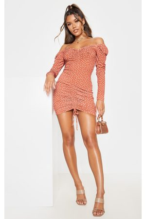 PRETTYLITTLETHING Women Bodycon Dresses - Terracotta Polka Dot Ruched Front Long Sleeve Bodycon Dress