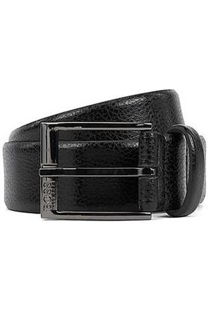 HUGO BOSS Men Belts - Grained-leather belt with gunmetal buckle