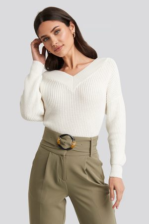 NA-KD V-Neck Wide Rib Knitted Sweater - White